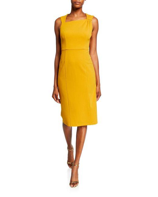 Donna Morgan Metallic Asymmetric-neck Sleeveless Sheath Dress