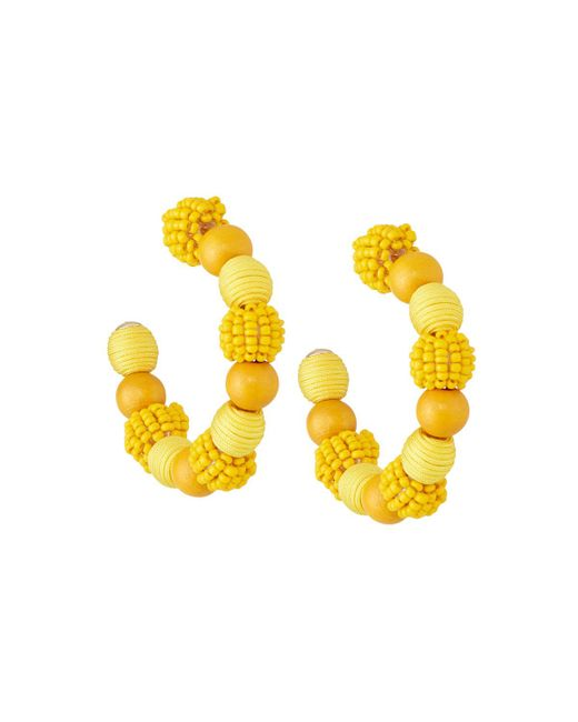 Lydell NYC - Yellow Mixed Bead Hoop Earrings - Lyst