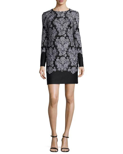 Nicole Miller   Black Long-sleeve Lace-print Sheath Dress   Lyst