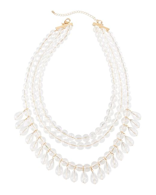 Lydell NYC - White Lucite® Multi-row Beaded Necklace - Lyst
