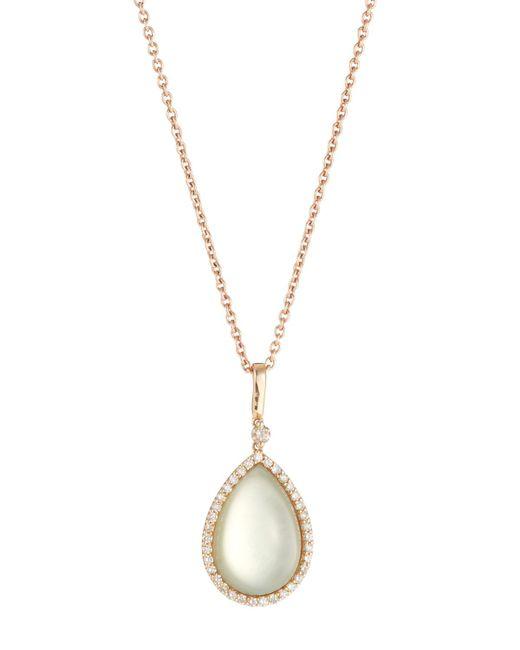 Roberto Coin - Metallic 18k Prasiolite & Diamond Teardrop Pendant Necklace - Lyst
