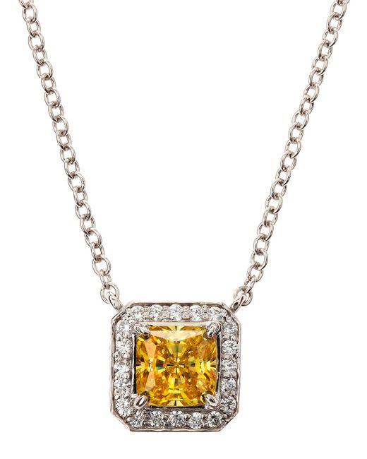 Fantasia by Deserio - Metallic Cz Princess Pave Pendant Necklace - Lyst