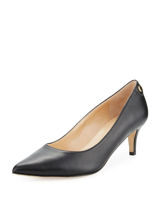 Neiman Marcus - Black Stroll Leather Slip-on Pumps - Lyst