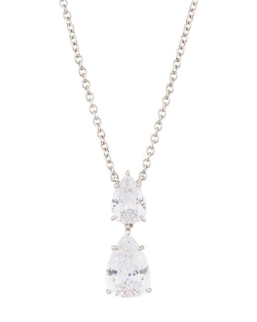 Fantasia by Deserio - Metallic Double Pear-drop Cz Crystal Pendant Necklace - Lyst