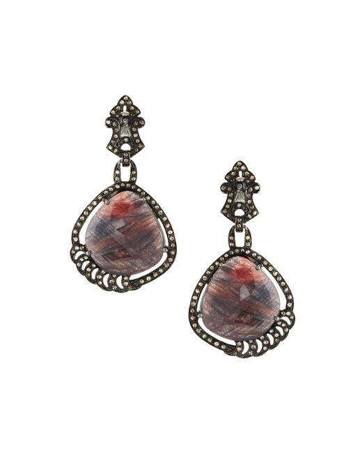 Bavna | Multicolor Brownish-red Sapphire & Diamond Drop Earrings | Lyst