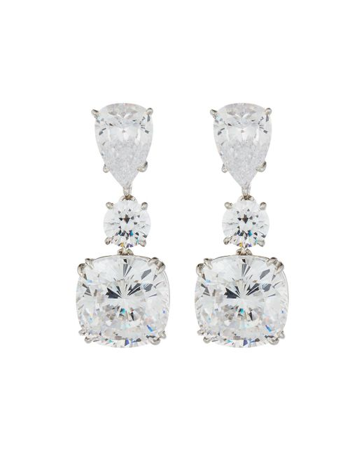 Fantasia by Deserio - Multicolor Large Cushion-cut Cz Dangle & Drop Earrings - Lyst