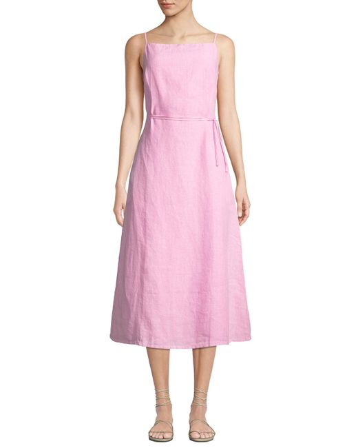 814d948e7e4 ... Tomas Maier - Pink Sleeveless Square-neck Linen Midi Dress - Lyst