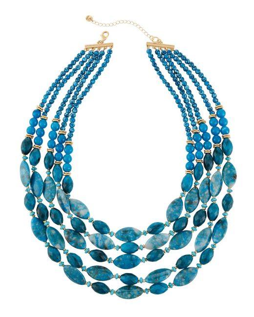 Lydell NYC | Blue Multi-strand Agate Beaded Necklace | Lyst