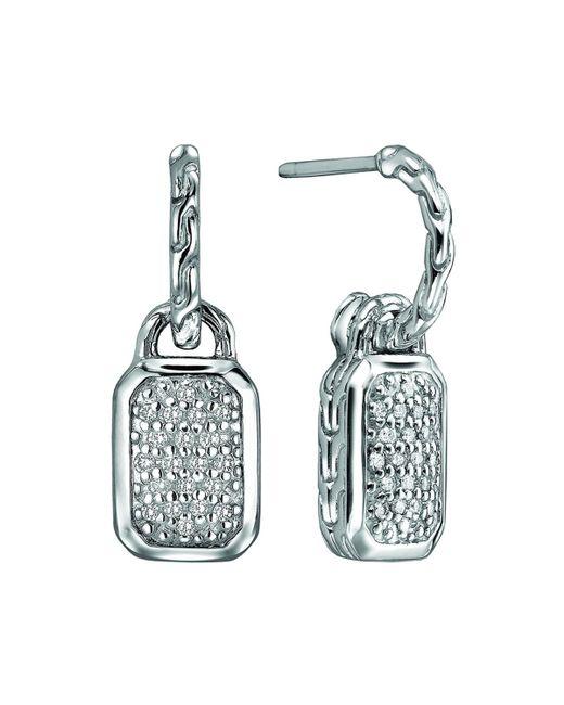 John Hardy - Metallic Silver Drop Earrings With Diamonds - Lyst