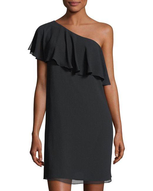 Cece by Cynthia Steffe   Black Crinkle Chiffon One-shoulder Minidress   Lyst