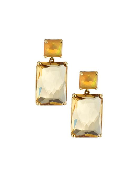 Ippolita | Metallic 18k Gold Rock Candy Rectangle Snowman Earrings In White Opal & Champagne Citrine | Lyst