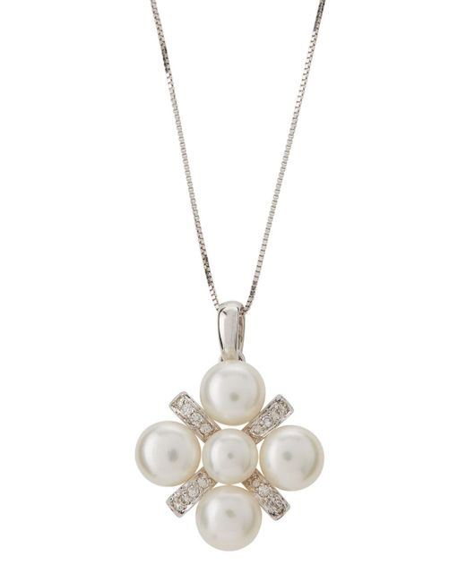 Belpearl - 14k White Gold Multi-pearl & Diamond Pendant Necklace - Lyst