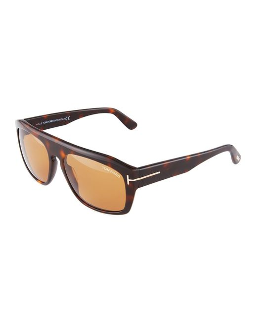 Tom Ford - Brown Rectangle Acetate Sunglasses - Lyst