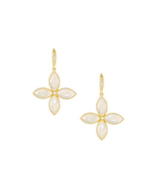 Indulgems - White Textured Floral Drop Earrings - Lyst