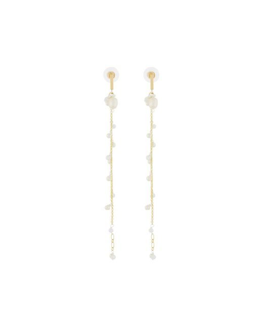 Nakamol | Metallic Long Chain Drop Earrings W/ Pearls | Lyst