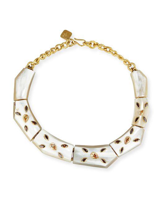 Ashley Pittman - Metallic Malkia Light Horn & Crystal Collar Necklace - Lyst