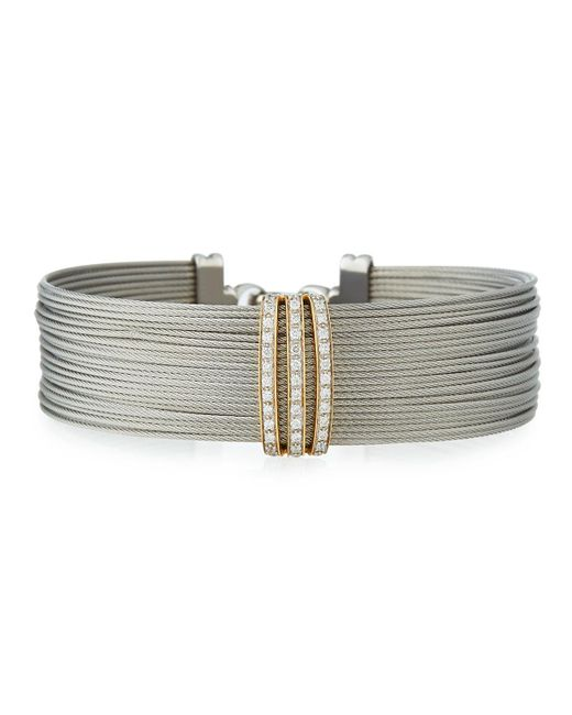 Alor | Gray Multi-row Stacked Bangle W/ Diamonds | Lyst