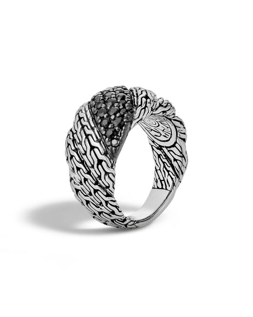 John Hardy - Black Classic Chain Silver Twisted Lava Ring - Lyst