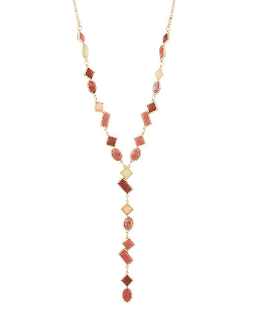 Lydell NYC | Gray Mixed Stone Y-drop Pendant Necklace | Lyst