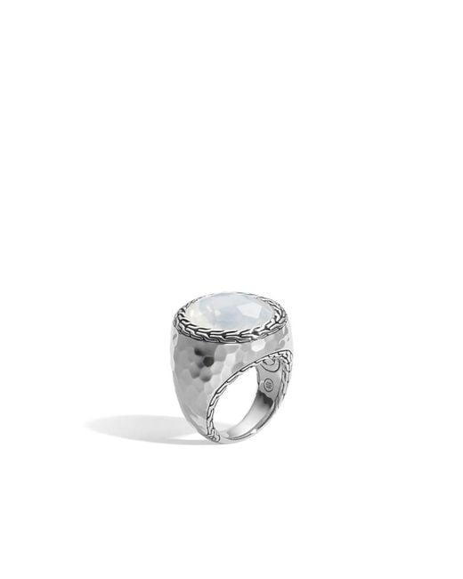 John Hardy - Metallic Batu Palu Silver Ring With Moon Quartz Size 7 - Lyst