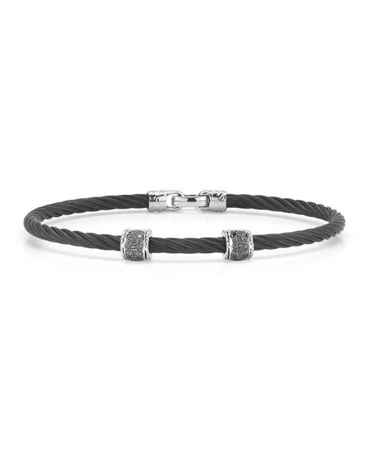 Alor   Black Stainless Steel & Diamond Cable Bracelet   Lyst