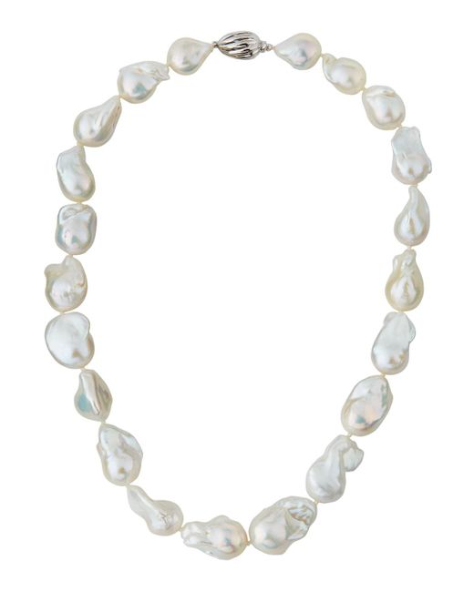 Belpearl | 14k Baroque White Freshwater Pearl Necklace | Lyst