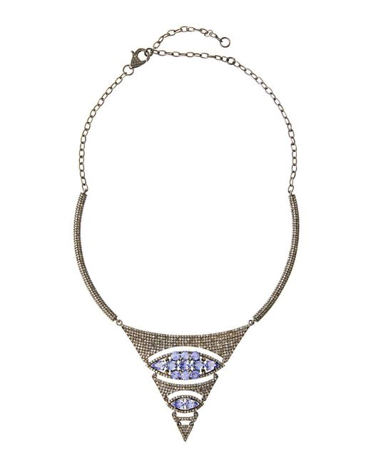 Bavna | Purple Iolite & Champagne Diamond Statement Necklace | Lyst