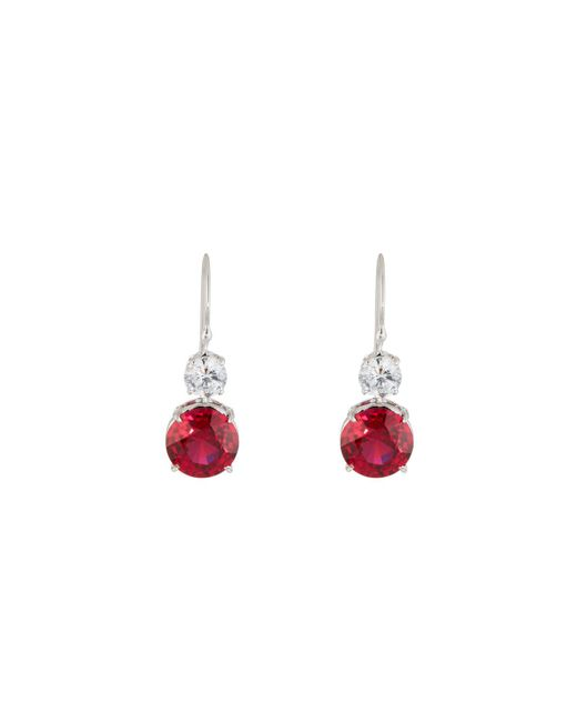 Fantasia by Deserio - Red Clear & Ruby-hued Crystal Double-drop Earrings - Lyst
