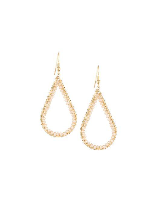 Panacea | White Wire-wrapped Crystal Open Teardrop Earrings | Lyst
