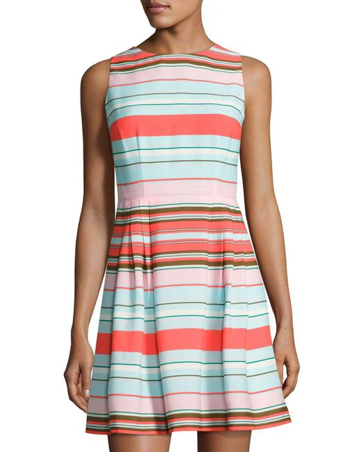 Cece by Cynthia Steffe | Blue Clairborne Striped Fit & Flare Dress | Lyst