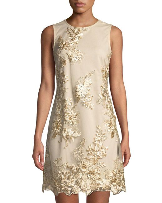 31a4998ab9 Donna Ricco - Metallic Embroidered Mesh-overlay Sheath Cocktail Dress -  Lyst ...