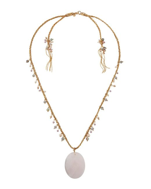 Lydell NYC - Pink Semiprecious Pendant Necklace - Lyst