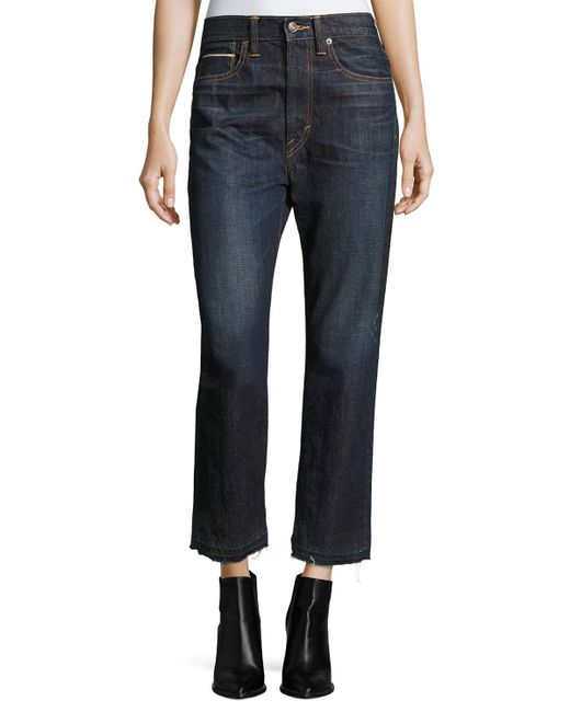 Vince - Blue Union Slouch Released-hem Jeans Dark Vintage Wash - Lyst