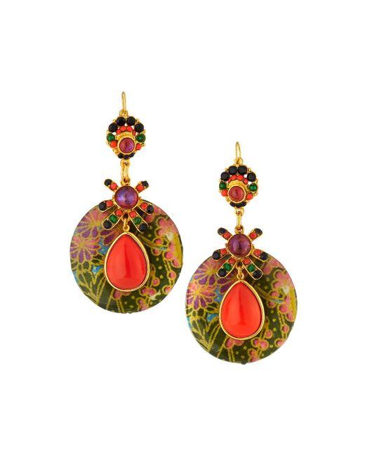 Jose & Maria Barrera - Multicolor Decoupage Wood Drop Earrings Coral - Lyst