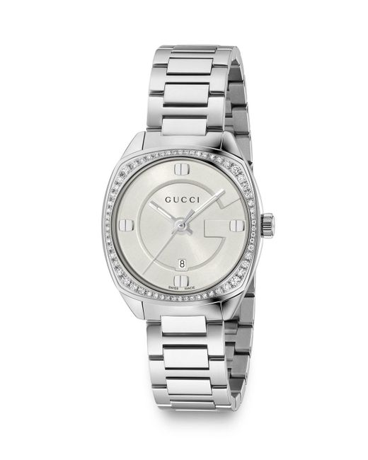 Gucci - White 29mm Stainless Steel Bracelet Watch W/ Diamond Bezel - Lyst