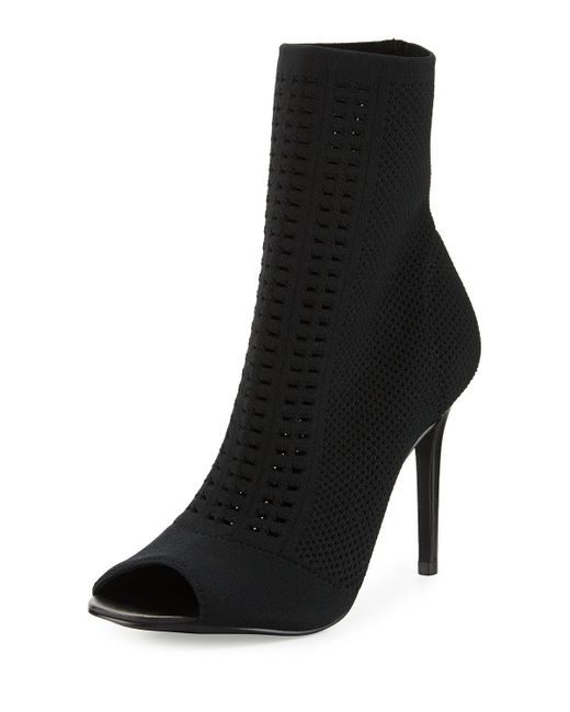 Charles David | Black Rebellious Mesh-knit Open-toe Bootie | Lyst
