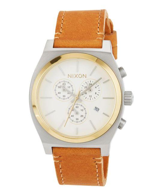 Nixon - Metallic 39mm Time Teller Chrono Leather Watch - Lyst