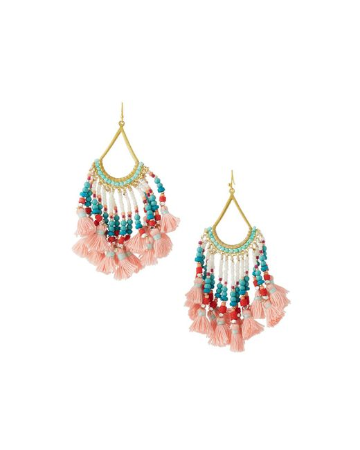 Nakamol | Multicolor Beaded Tasseled Drop Earrings | Lyst