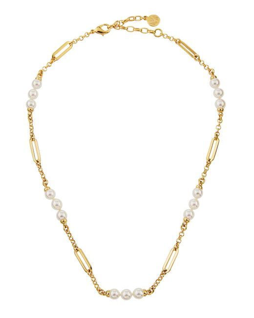 Majorica - White Modern Metal Pearly Chain Necklace - Lyst