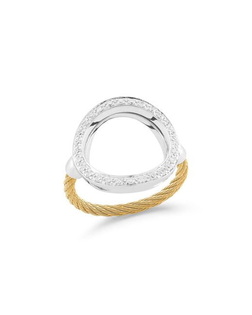 Alor - Yellow Open Diamond Pave Circle Ring - Lyst
