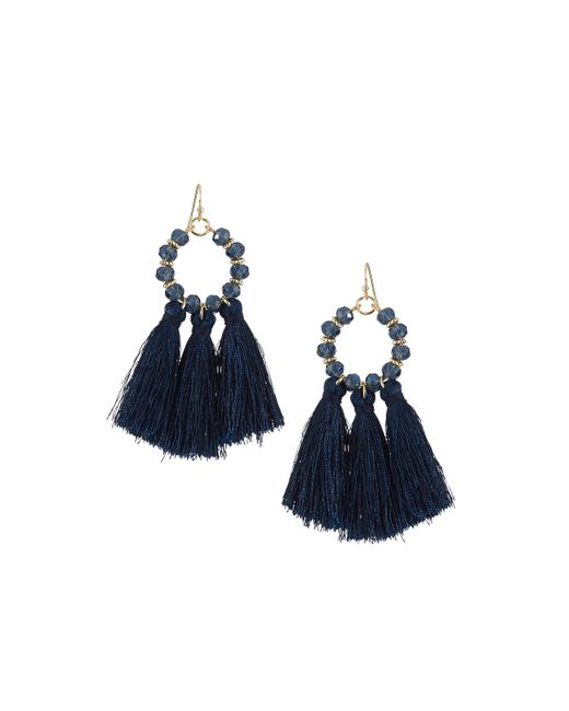 Fragments | Blue Fringe Hoop Earrings | Lyst