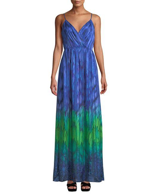 T Tahari - Blue Penelope V-neck Maxi Dress - Lyst