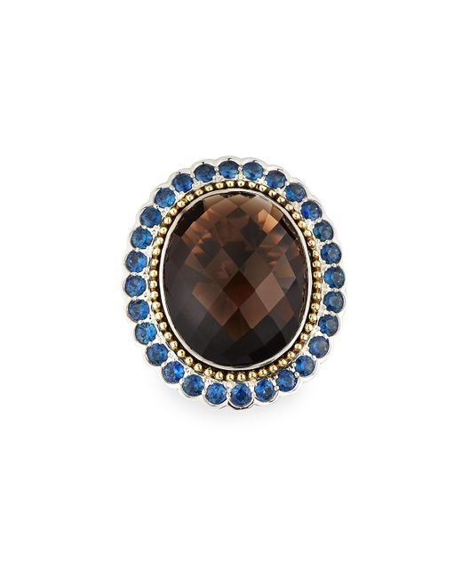 Lagos - Brown Smoky Quartz Ring With Blue Sapphire Halo - Lyst