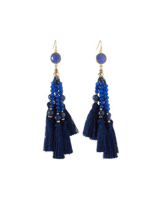 Nakamol | Blue Beaded Tassel Drop Earrings | Lyst