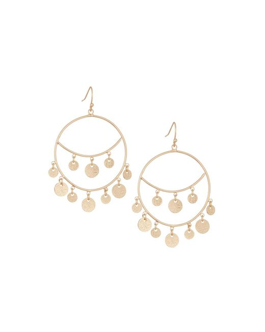 Panacea | Metallic Golden Disk Hoop-drop Earrings | Lyst