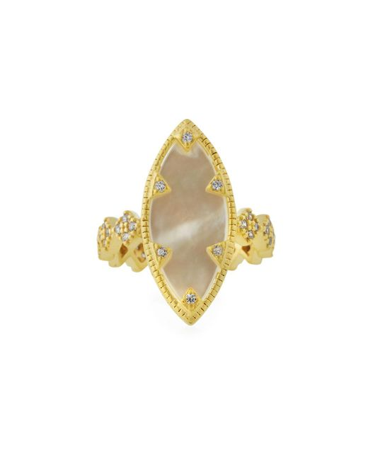 Freida Rothman - White Textured Mother-of-pearl Eyelet Ring - Lyst