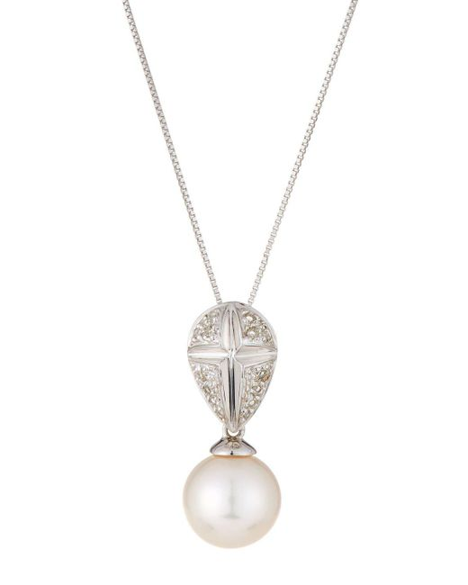 Belpearl | 14k White Gold Pearl & Diamond Pendant Necklace | Lyst