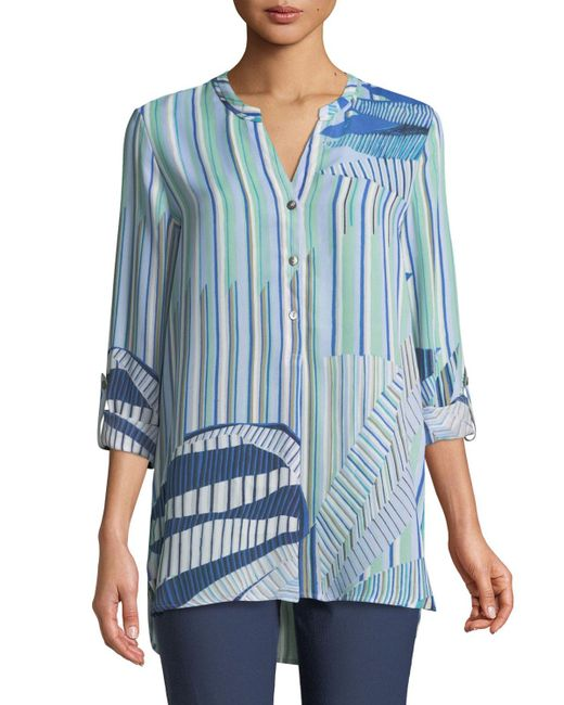 NIC+ZOE - Blue Palm Lines Top - Lyst