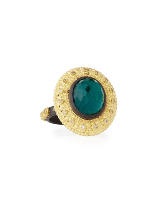 Armenta | Green Old World Oval Topaz & Malachite Doublet Stacking Ring W/ Champagne Diamonds | Lyst