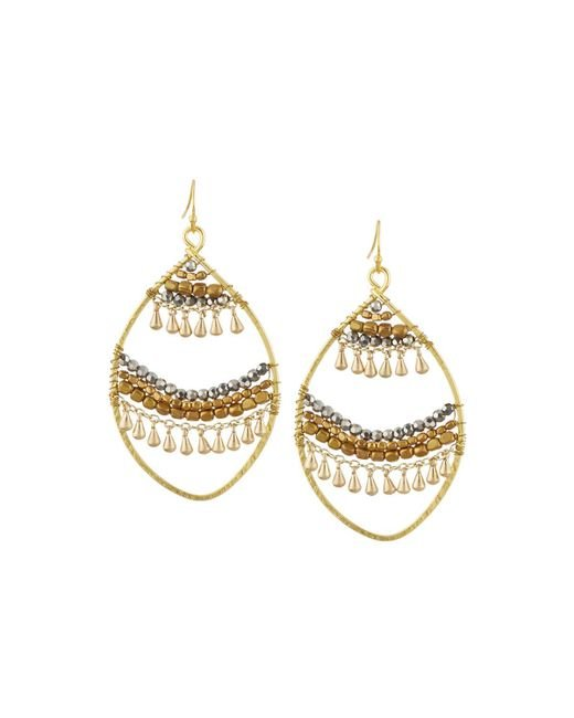 Nakamol - Metallic Open Fringe-layer Marquise Drop Earrings - Lyst